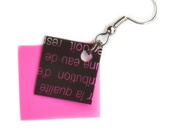 Geometrical Earrings | Pink Earrings | Color Block, Gift For Her, Minimal Jewelry, Modern Earring, Geometric Jewelry, Unique Earring, Edgy
