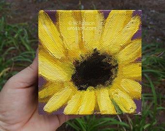 One Yellow Flower, Little Sunflowers, Yellow Daisy, Flower Painting, 4x4, Home decor, Office art, Wall art, Gift, Winjimir, Mother's Day,