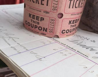 One Roll of Pink Carnival Tickets Fair ephemera paper Scrapbooking