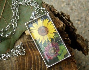 Yellow and Maroon sunflower garden necklace- silvertone