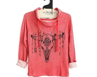 S or M- Coral Hoodie Sweatshirt hand screen printed with cow skull design