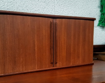 Mid Century Modern Teak Tambour Door Wall Shelf