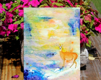 Original Modern Wildlife Abstract Painting Deer Doe Fawn Art by Carol Iyer