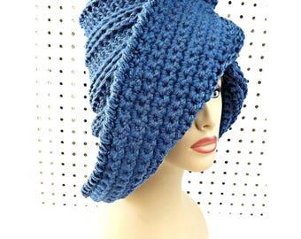 Crochet Beanie Crochet Hat, Crochet Christmas Gift for Women Winter Hat, Dark Denim Blue Hat, Lounger Wide Brim Hat