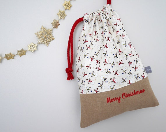 Customizable drawstring pouch - Christmas - Snowmen - Gold - White - Red - Holidays - Wrapping gift - cuddly toy - slippers - toys