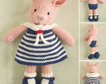 Toy knitting pattern for a girl pig in a sailor dress