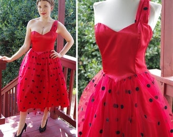 LADYBUG 1980's Vintage Sexy Bright Red + Black Polka Dot Dress with a Sweetheart Neckline + Side Strap // size Small 34 // GUNNE SAX