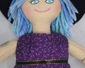 Hipster Girl Doll With Tattoos, Blue & Purple Hair - Art Doll - Toy Doll