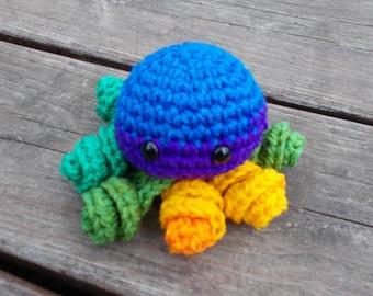 Rainbow Mini Crochet Octopus Amigurumi, Octopus Plush, Stuffed Animal,Cute,Toy, Stuffed octopus, Octi, MIni Toy, Rainbow, Crochet, Pride