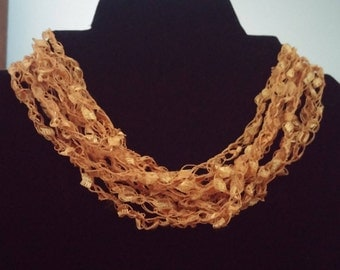 Gold,  A sparkly adjustable crocheted trellis yarn necklace, Ladder Yarn, Trellis Yarn