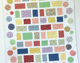 Baby Girl Quilt 1930s Style Pieced and Appliqued Nursery Crib Bedding
