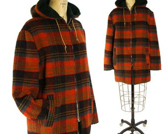 """70s Plaid Wool Ranch Coat / Vintage 1970s Faux Fur Lined Reversible Blanket Jacket Hooded Red Western Fall Winter Jacket Unisex 42.5"""" Chest"""