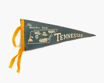 Vintage Tennessee Felt Pennant The Volunteer State Map Souvenir