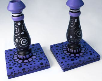 Purple Wooden Candlesticks - Purple and Black Decor - Housewarming or Wedding Gift - Pair HandPainted Wood Candle Holders