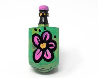 Pink Flower Dreidel - Hanukkah Gift for Her - Hand Painted Dreidel - Draydel