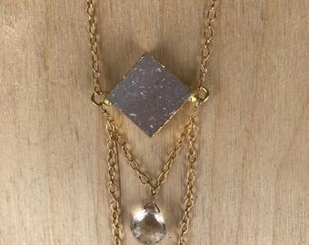 Druzy & Crystal Quartz Necklace