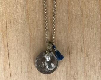Silver Turkish Coin & Blue Tassel Necklace