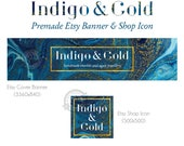 Blue Marble Etsy Shop Banner and Icon Set Graphics for Etsy Blue Agate Store Banner with Gold Foil Etsy Cover Photo Jewelry Shop Banner