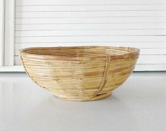 Vintage Coiled Basket  Coiled Bamboo Basket  Rattan Bowl  Bohemian Home Decor  Rustic Farmhouse Decor  Mid Century Modern