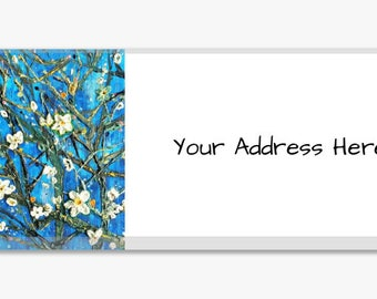 Vincent VanGogh inspired Cherry Blossom Landscape Address Labels 60 Personalized Modern Customize From an Original Heather Lange Painting