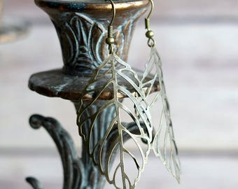 Brass Leaf Drop Earrings, Brass Earrings, Leaf Earrings, Long Earrings, Statement Earrings, Dangle Earrings, Simple Earrings