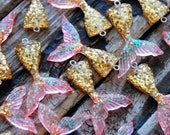 4pcs . Gold Pink Mermaid Tails . Mermaid Pendants Mermaid Charms . Mermaid Party Favors . Bridal Shower Decorations . Always Be A Mermaid