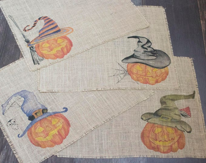Featured listing image: Halloween Jack O'Lantern burlap placemats with fun whimsical pumpkins in witch hats