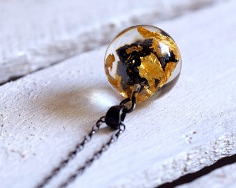 Medium Carborundum and Gold Leaf Necklace with oxidized silver chain, bold jewelry, statement jewelry, mineral collection