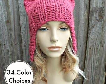 Pink Pussyhat Pink Cat Hat Womens Hat - Raspberry Pink Ear Flap Cat Hat - Ear Flap Hat Pink Hat Pink Beanie Pink Pussy Hat 34 Color Choices