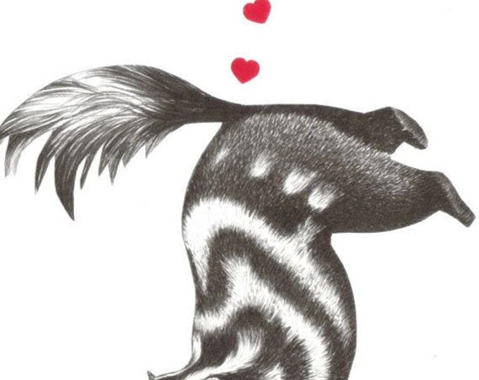 Funny Skunk Art, I Love You, Heart Artwork