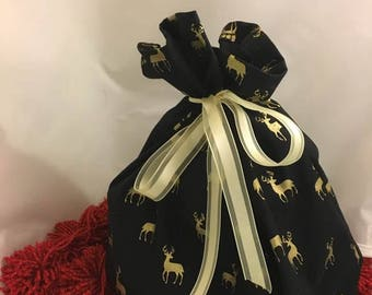 Gold Reindeer Fabric Gift Bag