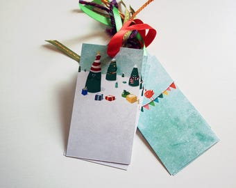 Set of 6 gift tags - Cute christmas winter trees