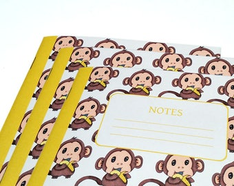 Baby Monkey Notebooks - Journal - School Notebook - Buy 2 Get 1 Free - Set of 3 - Note Book - Travelers Notebook - Monkey Notebooks for Kids