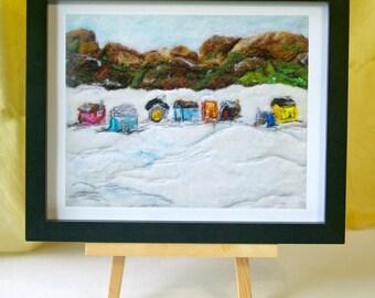 "Early Spring Lake Bernard, Fiber Art: Quality Art Print of Wool & Silk Fiber Felted Painting (8 x 10"" , you choose paper)"