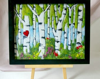 "Birch Tree Woodland Fiber Art: Quality Art Print of 'Every One a Friend' (8 x 10"" Print of Felted Wool and Silk)"