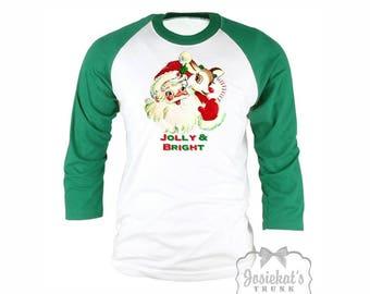 Santa Shirt - Santa Christmas Shirt -  Christmas Baseball Green Shirt - Womens Santa Christmas - Mens Retro Adult Unisex S M L Xl 2Xl 3XL