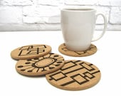 Mid Century Modern Retro Abstract MCM Cork Coasters