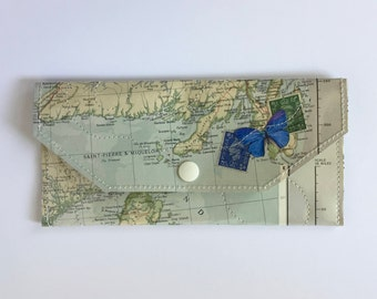 Large Snap Wallet - Vintage Map & Vinyl