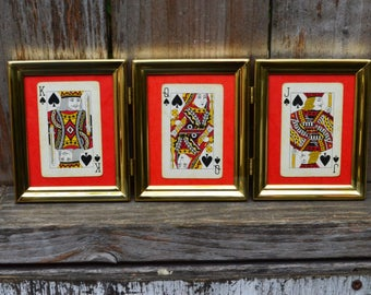 King, Queen, Jack - Vintage Playing Cards in Brass Frame