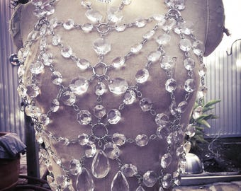 Sacred Geometry Chandelier Crystal Harness Top and Film Noir corset without front grommets
