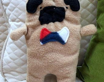 Frank ~ The Fawn Pug Bow Tie Bummlie ~ Stuffing Free Dog Toy ~ Ready To Ship Today - Red, White & Blue Bow Tie