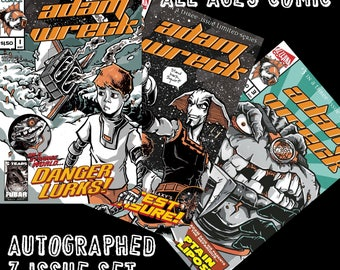 Adam Wreck 3 issue complete set - Autographed Comics for Kids