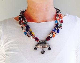 Beaded Taviz Capsule Amulet Tribal Necklace 2. Rabari Gujarat