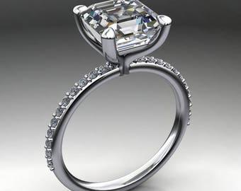 shay ring – 2.7 carat asscher cut ZAYA moissanite engagement ring