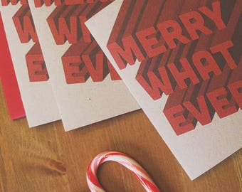 Merry Whatever Holiday Card Set, Funny Christmas Cards, Set of 4 cards, quirky holiday greeting cards with red envelopes