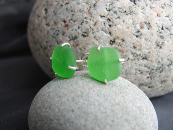 Tiny Ocean sea glass stud earrings in kelly green