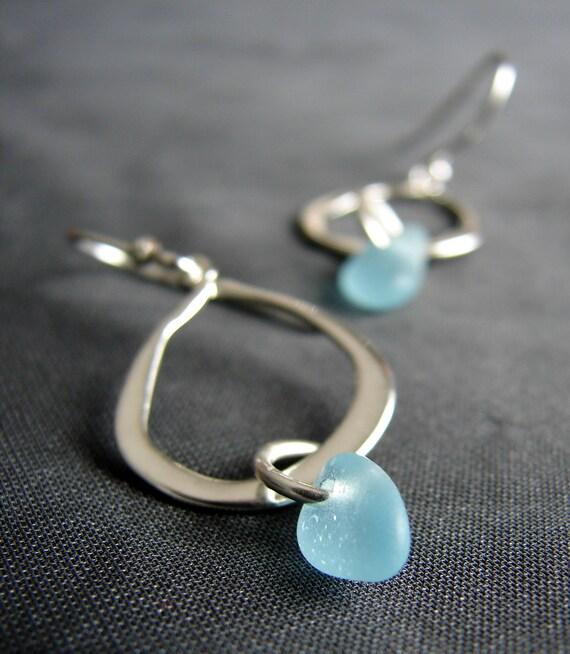 Waterline sea glass earrings in aqua