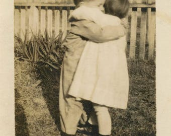 Vintage Snapshot photo 1922 Boy Baby Girl Loving Embrace Hug