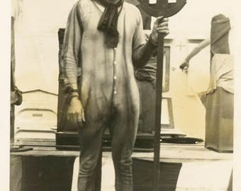 vintage photo ABSTRACT Sailor Dressed as Devil Costume Holds Trident on Military Ship
