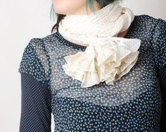 Long white scarf, loose knit scarf with ruffles, Womens accessories, MALAM